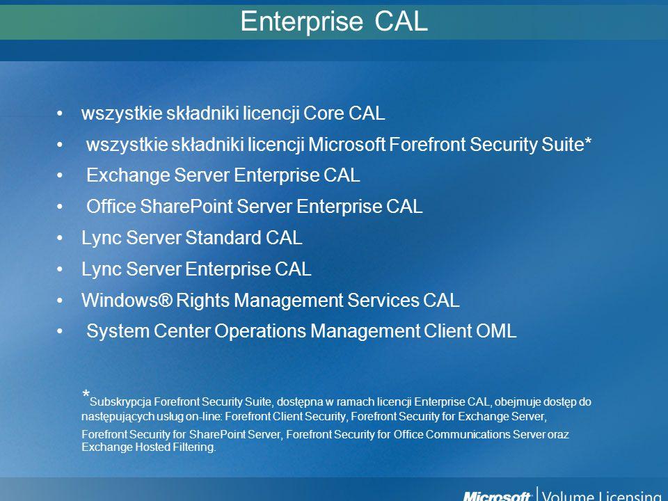 Enterprise CAL wszystkie składniki licencji Core CAL wszystkie składniki licencji Microsoft Forefront Security Suite* Exchange Server Enterprise CAL O