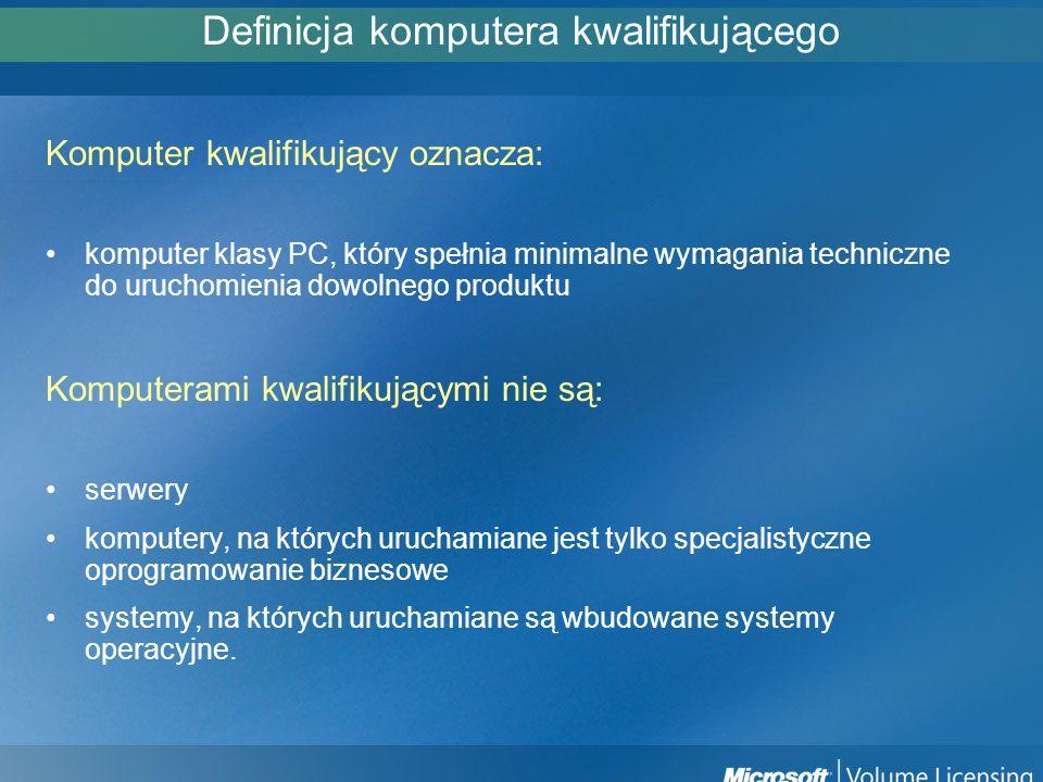 Definicja komputera kwalifikującego Komputer kwalifikujący oznacza: komputer klasy PC, który spełnia minimalne wymagania techniczne do uruchomienia do