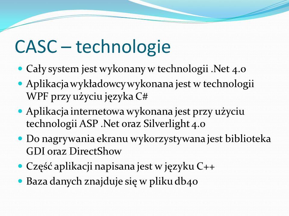CASC – technologie Cały system jest wykonany w technologii.Net 4.0 Aplikacja wykładowcy wykonana jest w technologii WPF przy użyciu języka C# Aplikacj