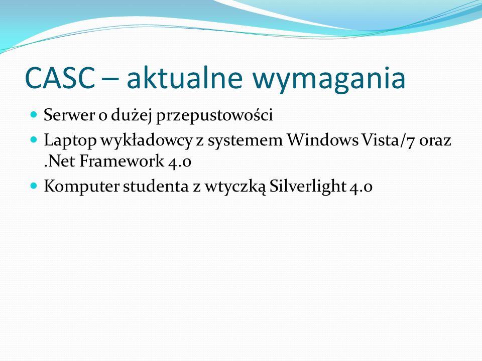 CASC – aktualne wymagania Serwer o dużej przepustowości Laptop wykładowcy z systemem Windows Vista/7 oraz.Net Framework 4.0 Komputer studenta z wtyczk