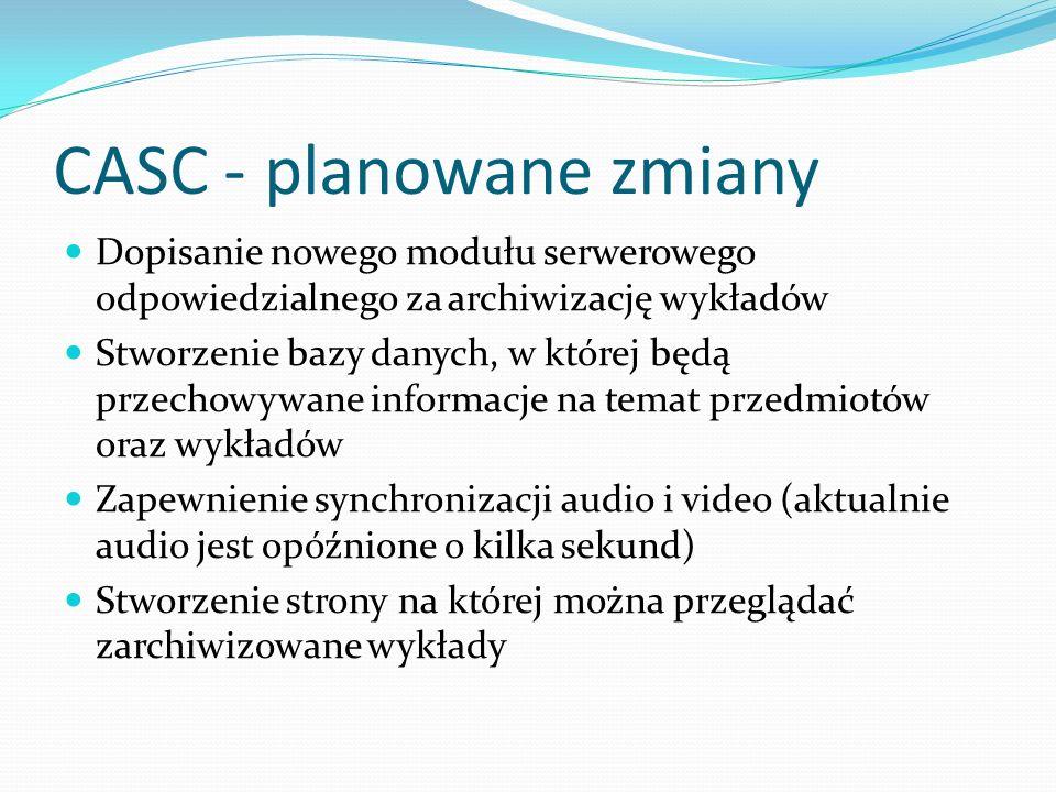 CASC -planowane zmiany Dopisanie nowego modułu serwerowego odpowiedzialnego za archiwizację wykładów Stworzenie bazy danych, w której będą przechowywa