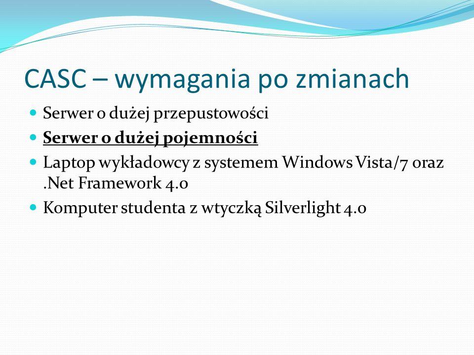 CASC – wymagania po zmianach Serwer o dużej przepustowości Serwer o dużej pojemności Laptop wykładowcy z systemem Windows Vista/7 oraz.Net Framework 4