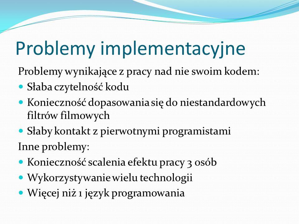 Problemy implementacyjne Problemy wynikające z pracy nad nie swoim kodem: Słaba czytelność kodu Konieczność dopasowania się do niestandardowych filtró