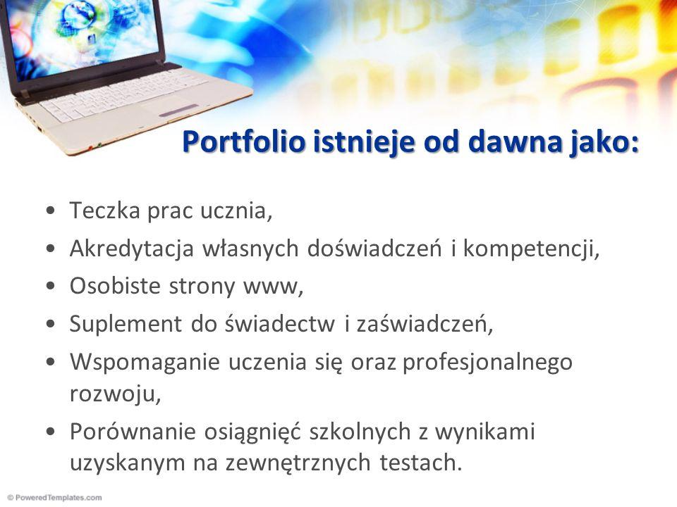 Wykorzystanie ePortfolio Planowanie rozwoju osobistego i kontynuacji rozwoju zawodowego : zbierana dokumentacja pokazuje wszelkie aktywności jakie podejmował jej posiadacz w celu rozwoju osobistych i zawodowych kompetencji.