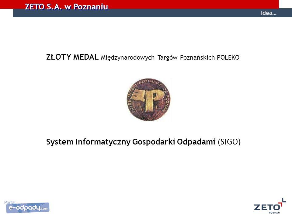 ZETO S.A. w Poznaniu Idea… ZŁOTY MEDAL Międzynarodowych Targów Poznańskich POLEKO System Informatyczny Gospodarki Odpadami (SIGO)