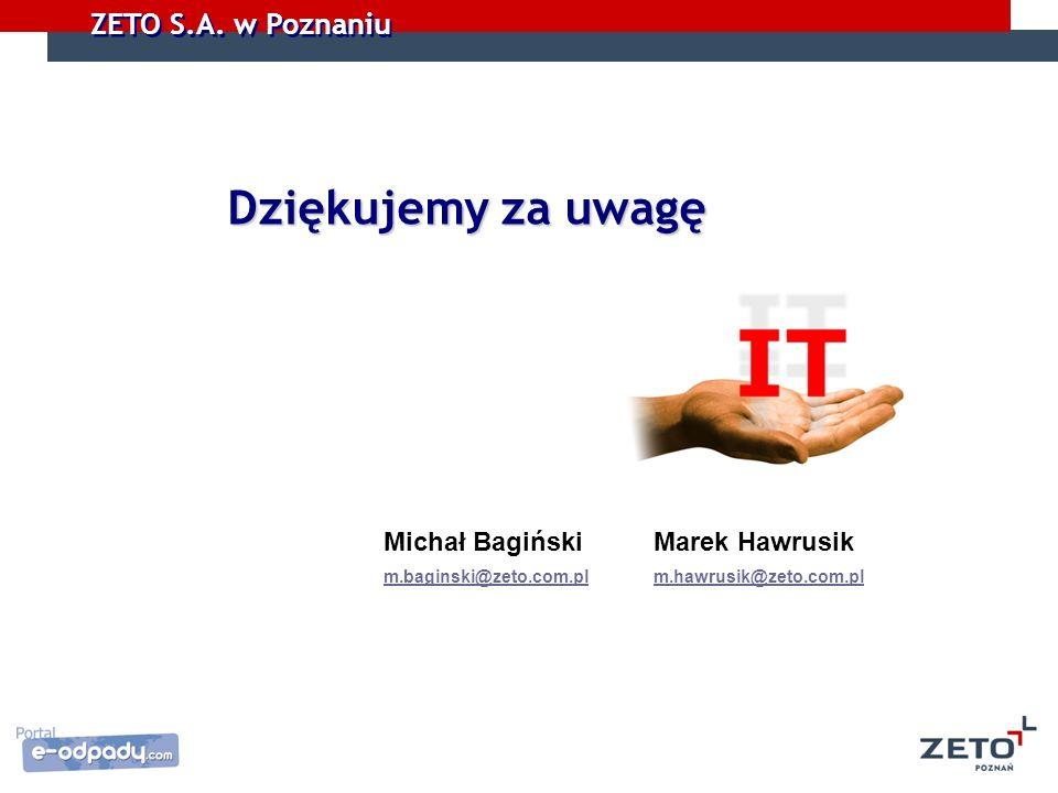 ZETO S.A. w Poznaniu Dziękujemy za uwagę Michał Bagiński Marek Hawrusik m.baginski@zeto.com.pl m.hawrusik@zeto.com.pl m.baginski@zeto.com.plm.hawrusik