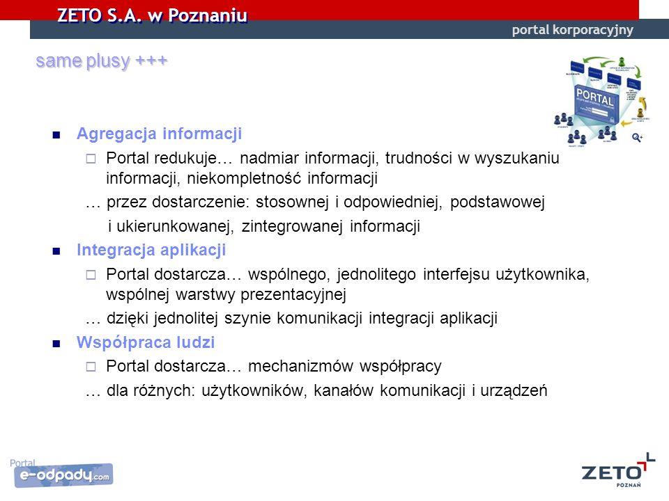 ZETO S.A. w Poznaniu same plusy +++ Agregacja informacji Portal redukuje… nadmiar informacji, trudności w wyszukaniu informacji, niekompletność inform