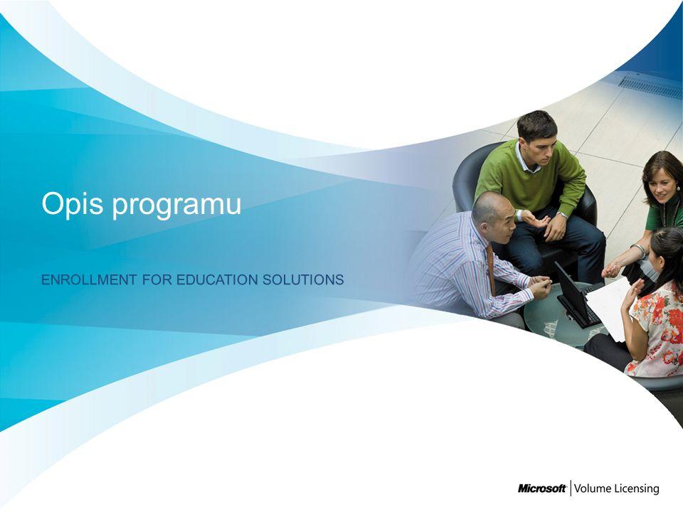 Nowy program subskrypcyjny dostępny w ramach Umowy Campus and School dla WSZYSTKICH kwalifikujących się klientów edukacyjnych, który obejmuje: Gwarantowana obsługa Licencja na produkty platformy obejmująca całą instytucję Coroczne określenie liczby pracowników Należy raz w roku policzyć pracowników (pełnoetatowych) Produkty dodatkowe Możliwość nabywania dowolnej liczby licencji Specjalne korzyści Licencje dla studentów, Software Assurance, możliwość pobierania oprogramowania z sieci (ESD), Live@edu