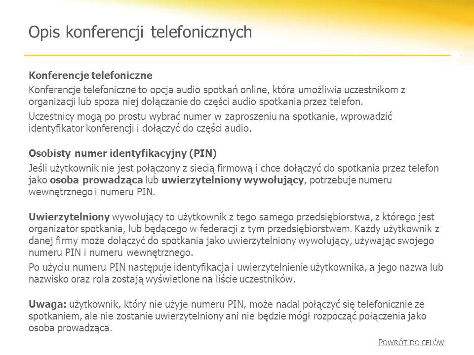 Opis konferencji telefonicznych Konferencje telefoniczne Konferencje telefoniczne to opcja audio spotkań online, która umożliwia uczestnikom z organizacji lub spoza niej dołączanie do części audio spotkania przez telefon.