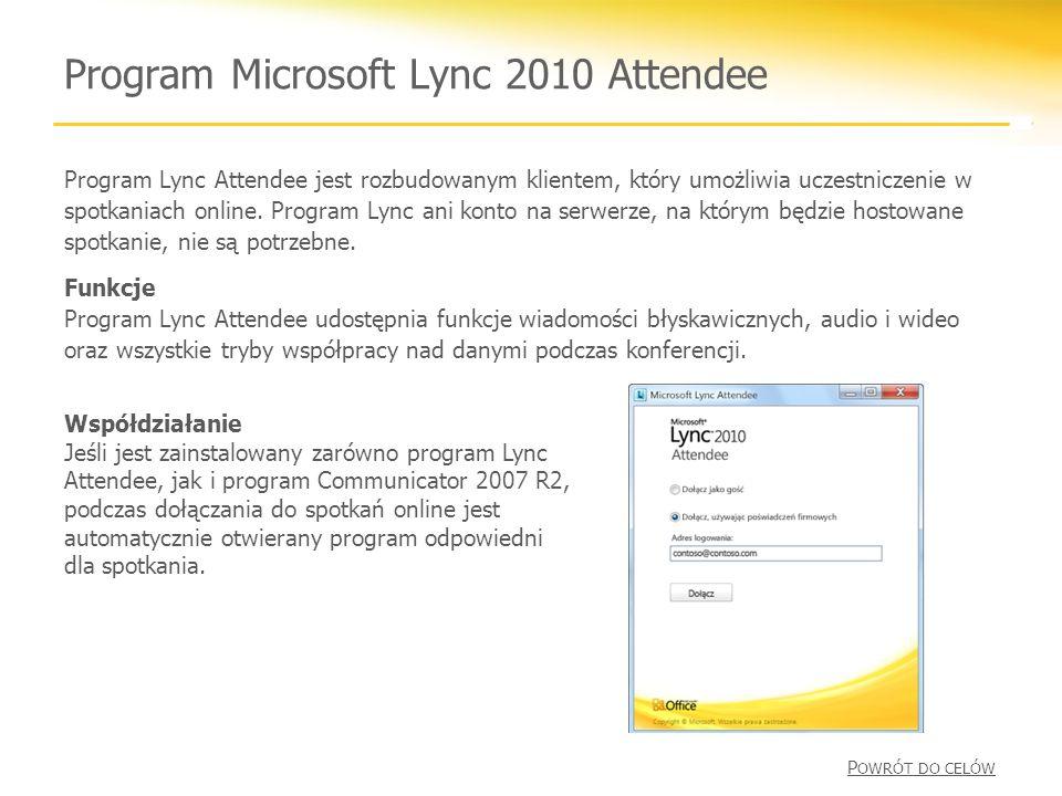 Program Microsoft Lync 2010 Attendee Program Lync Attendee jest rozbudowanym klientem, który umożliwia uczestniczenie w spotkaniach online.