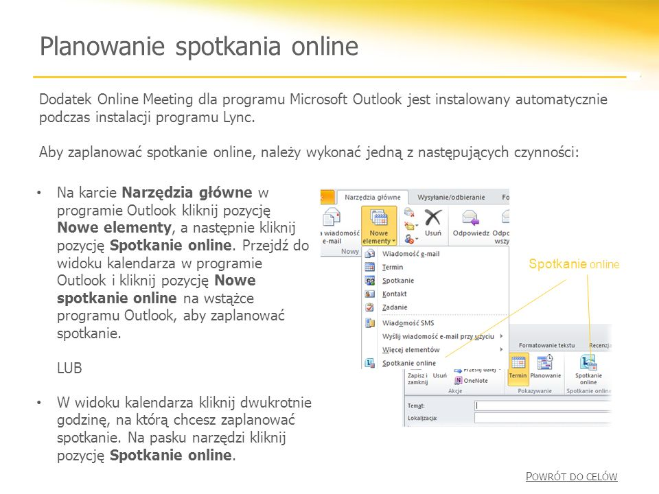 Planowanie spotkania online Dodatek Online Meeting dla programu Microsoft Outlook jest instalowany automatycznie podczas instalacji programu Lync.