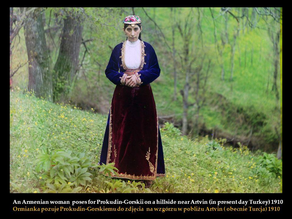Self-portrait, Prokudin-Gorskii seated on rock beside the Karolitskhali River in the Caucasus Mountains near the eastern coast of the Black Sea 1915 A