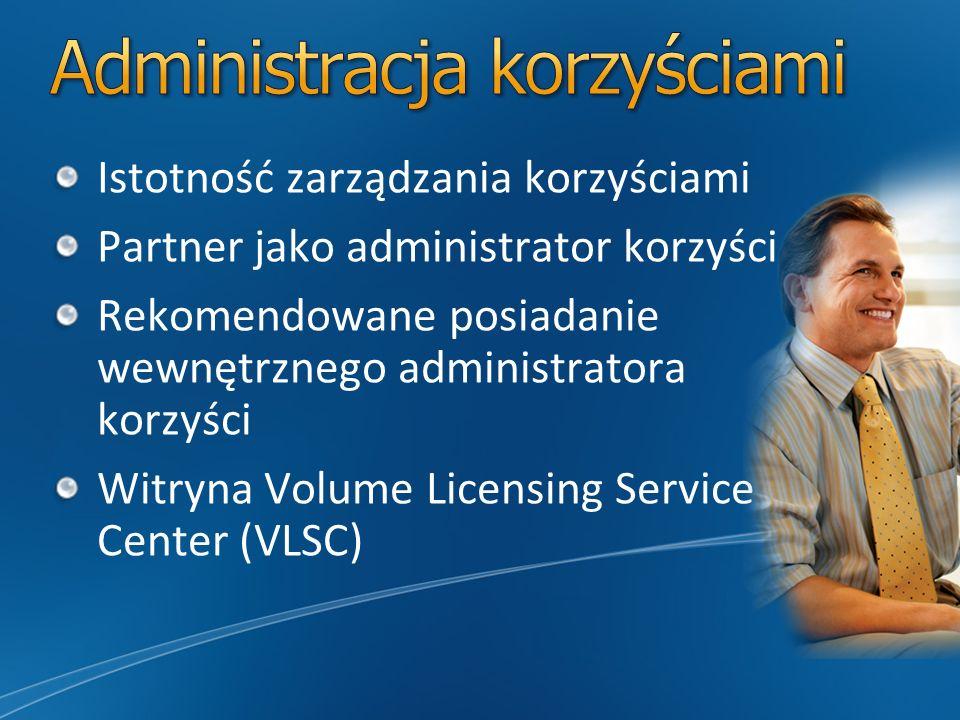 Istotność zarządzania korzyściami Partner jako administrator korzyści Rekomendowane posiadanie wewnętrznego administratora korzyści Witryna Volume Lic
