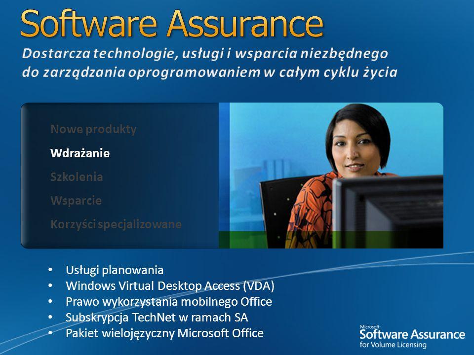 Nowe produkty Wdrażanie Szkolenia Wsparcie Korzyści specjalizowane Usługi planowania Windows Virtual Desktop Access (VDA) Prawo wykorzystania mobilneg