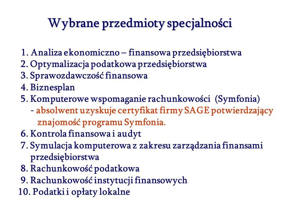 Wybrane przedmioty specjalności 1. Analiza ekonomiczno – finansowa przedsiębiorstwa 2. Optymalizacja podatkowa przedsiębiorstwa 3. Sprawozdawczość fin