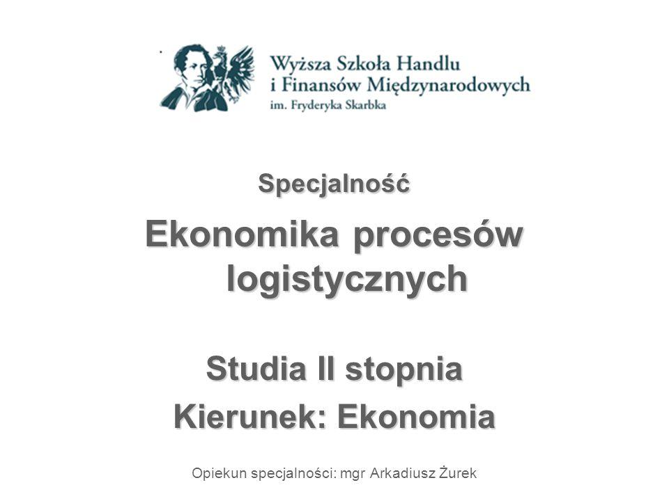 Specjalność Ekonomika procesów logistycznych Studia II stopnia Kierunek: Ekonomia Opiekun specjalności: mgr Arkadiusz Żurek