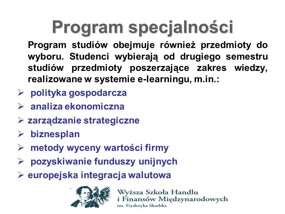 Program specjalności Program studiów obejmuje również przedmioty do wyboru. Studenci wybierają od drugiego semestru studiów przedmioty poszerzające za