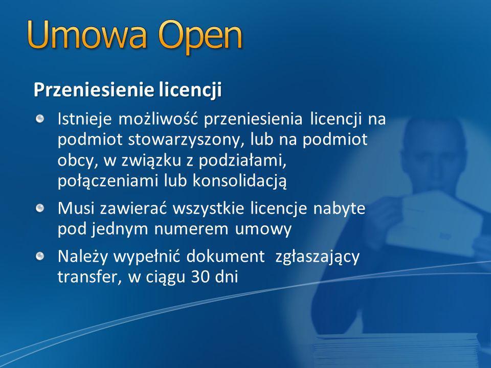Przeniesienie licencji Istnieje możliwość przeniesienia licencji na podmiot stowarzyszony, lub na podmiot obcy, w związku z podziałami, połączeniami lub konsolidacją Musi zawierać wszystkie licencje nabyte pod jednym numerem umowy Należy wypełnić dokument zgłaszający transfer, w ciągu 30 dni