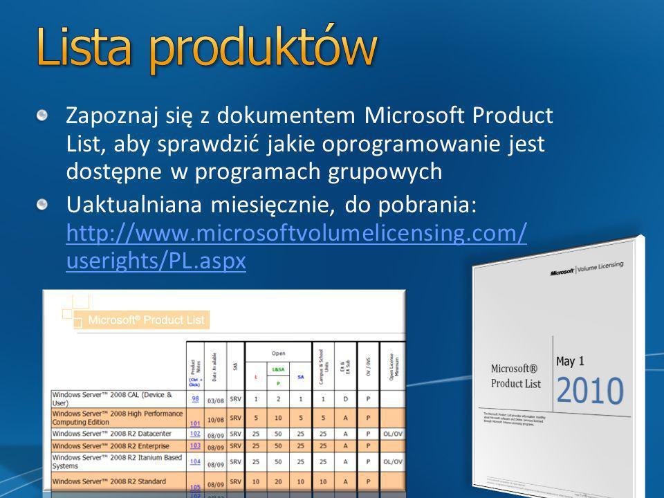Zapoznaj się z dokumentem Microsoft Product List, aby sprawdzić jakie oprogramowanie jest dostępne w programach grupowych Uaktualniana miesięcznie, do pobrania: http://www.microsoftvolumelicensing.com/ userights/PL.aspx http://www.microsoftvolumelicensing.com/ userights/PL.aspx