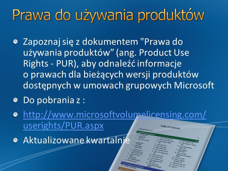 Zapoznaj się z dokumentem Prawa do używania produktów (ang.