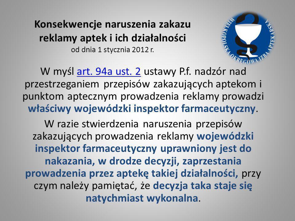 W myśl art. 94a ust. 2 ustawy P.f. nadzór nad przestrzeganiem przepisów zakazujących aptekom i punktom aptecznym prowadzenia reklamy prowadzi właściwy