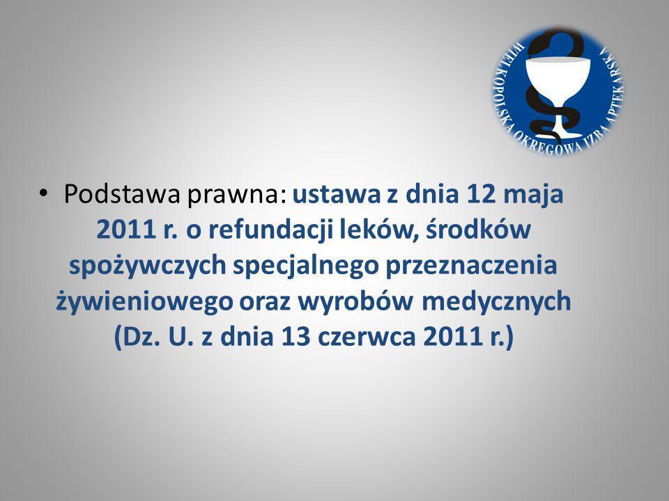 Podstawa prawna: ustawa z dnia 12 maja 2011 r. o refundacji leków, środków spożywczych specjalnego przeznaczenia żywieniowego oraz wyrobów medycznych