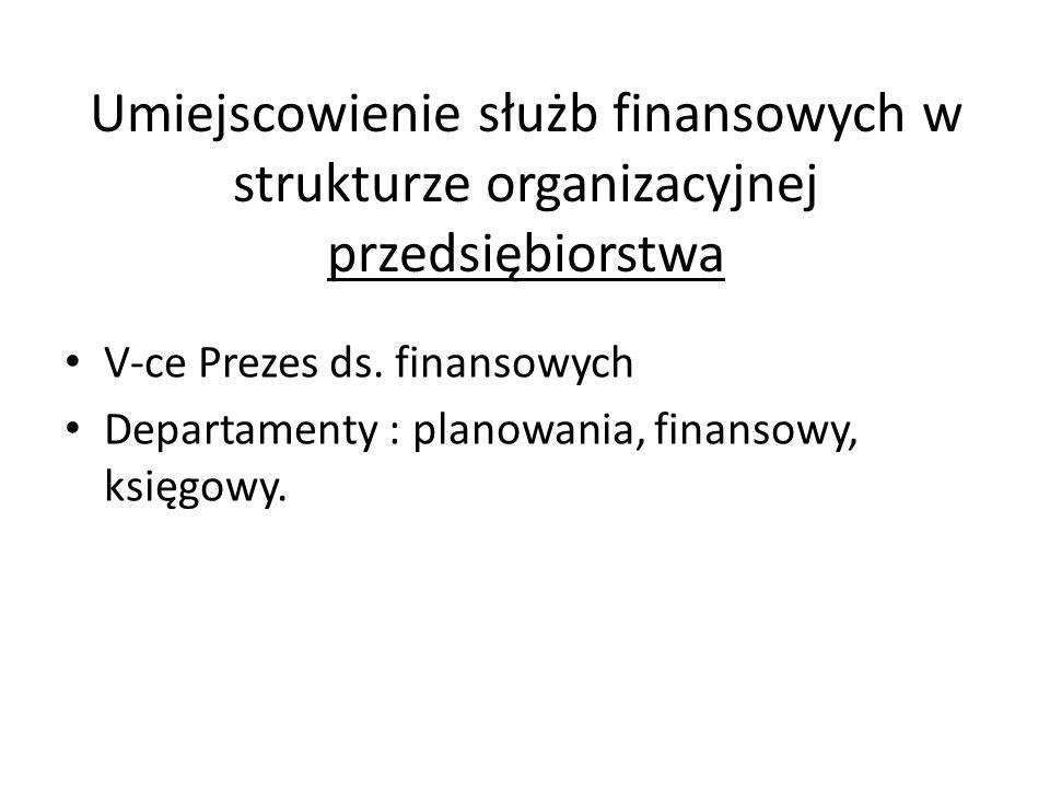Umiejscowienie służb finansowych w strukturze organizacyjnej przedsiębiorstwa V-ce Prezes ds. finansowych Departamenty : planowania, finansowy, księgo