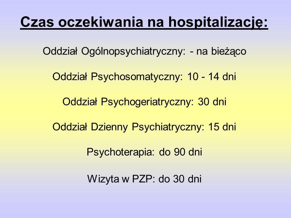 Czas oczekiwania na hospitalizację: Oddział Ogólnopsychiatryczny: - na bieżąco Oddział Psychosomatyczny: 10 - 14 dni Oddział Psychogeriatryczny: 30 dni Oddział Dzienny Psychiatryczny: 15 dni Psychoterapia: do 90 dni Wizyta w PZP: do 30 dni