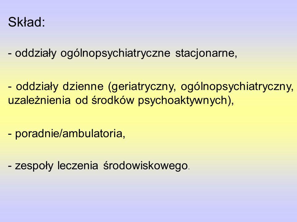 Skład: - oddziały ogólnopsychiatryczne stacjonarne, - oddziały dzienne (geriatryczny, ogólnopsychiatryczny, uzależnienia od środków psychoaktywnych), - poradnie/ambulatoria, - zespoły leczenia środowiskowego.