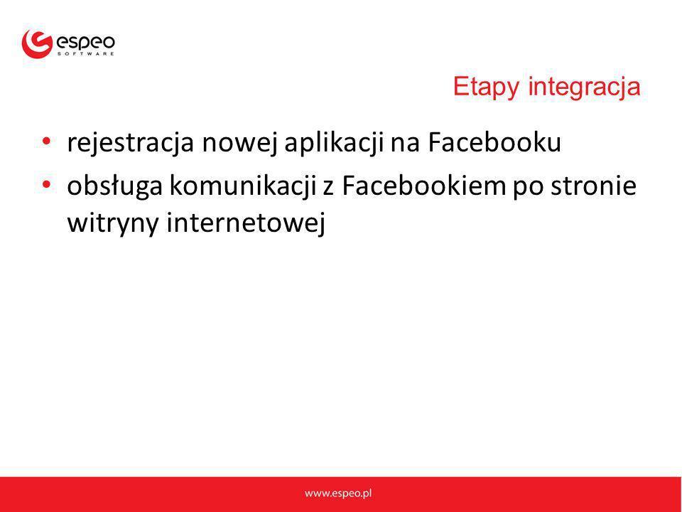 Etapy integracja rejestracja nowej aplikacji na Facebooku obsługa komunikacji z Facebookiem po stronie witryny internetowej