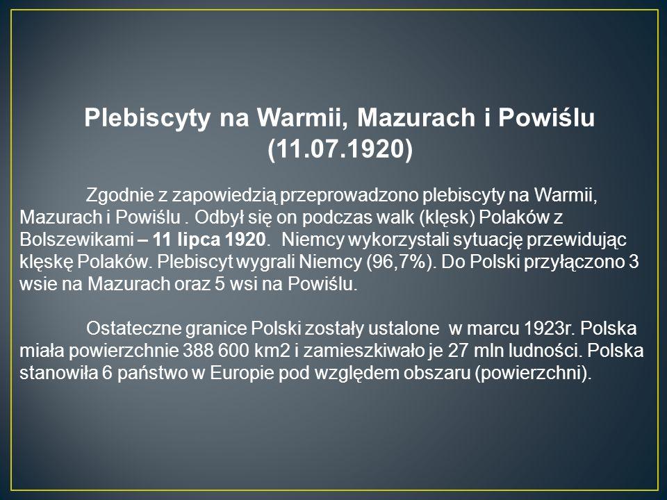 Plebiscyty na Warmii, Mazurach i Powiślu (11.07.1920) Zgodnie z zapowiedzią przeprowadzono plebiscyty na Warmii, Mazurach i Powiślu.