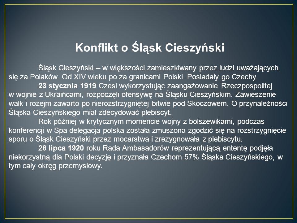 Konflikt o Śląsk Cieszyński Śląsk Cieszyński – w większości zamieszkiwany przez ludzi uważających się za Polaków.