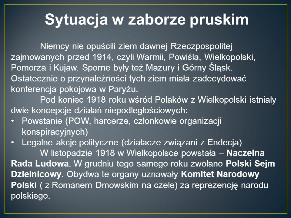 Sytuacja w zaborze pruskim Niemcy nie opuścili ziem dawnej Rzeczpospolitej zajmowanych przed 1914, czyli Warmii, Powiśla, Wielkopolski, Pomorza i Kujaw.