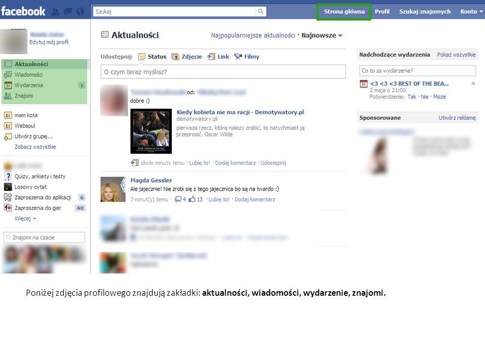 Poniżej zdjęcia profilowego znajdują zakładki: aktualności, wiadomości, wydarzenie, znajomi.