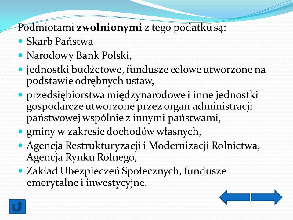 Podmiotami zwolnionymi z tego podatku są: Skarb Państwa Narodowy Bank Polski, jednostki budżetowe, fundusze celowe utworzone na podstawie odrębnych us