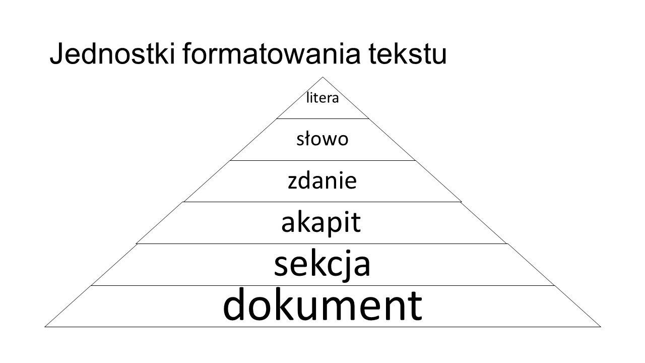 Jednostki formatowania tekstu litera słowo zdanie akapit sekcja dokument