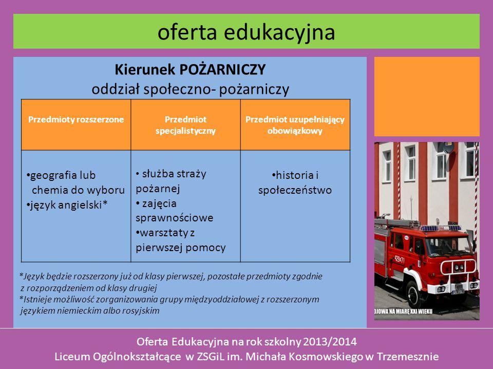 Kierunek POŻARNICZY oddział społeczno- pożarniczy *Język będzie rozszerzony już od klasy pierwszej, pozostałe przedmioty zgodnie z rozporządzeniem od