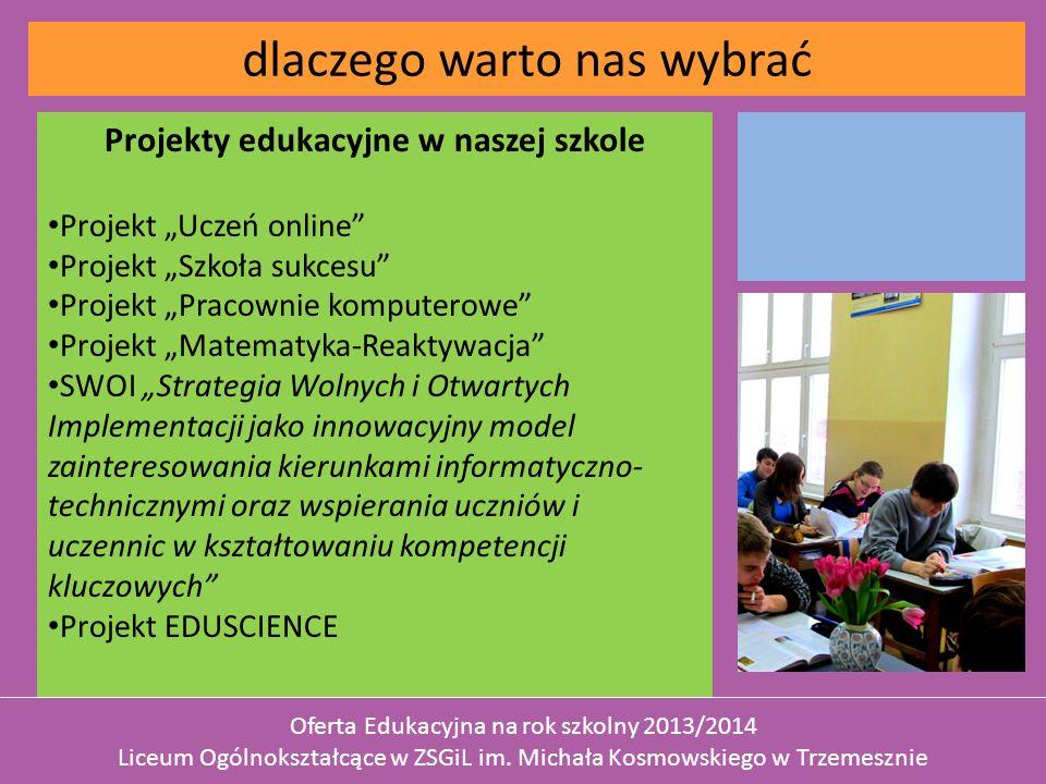 Projekty edukacyjne w naszej szkole Projekt Uczeń online Projekt Szkoła sukcesu Projekt Pracownie komputerowe Projekt Matematyka-Reaktywacja SWOI Stra