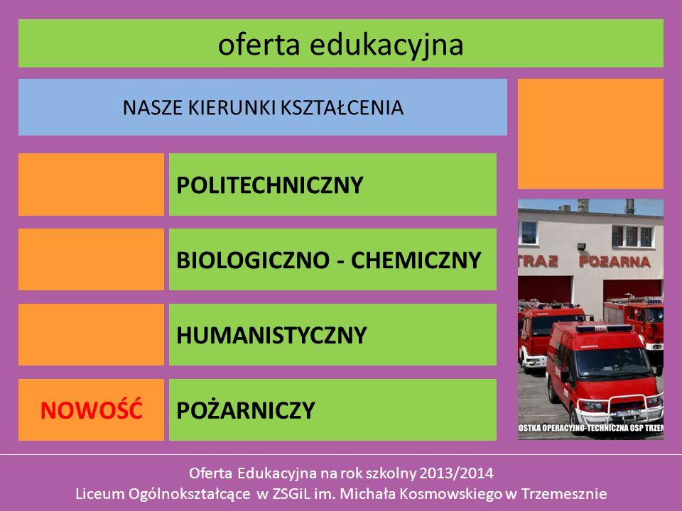 NASZE KIERUNKI KSZTAŁCENIA oferta edukacyjna Oferta Edukacyjna na rok szkolny 2013/2014 Liceum Ogólnokształcące w ZSGiL im.