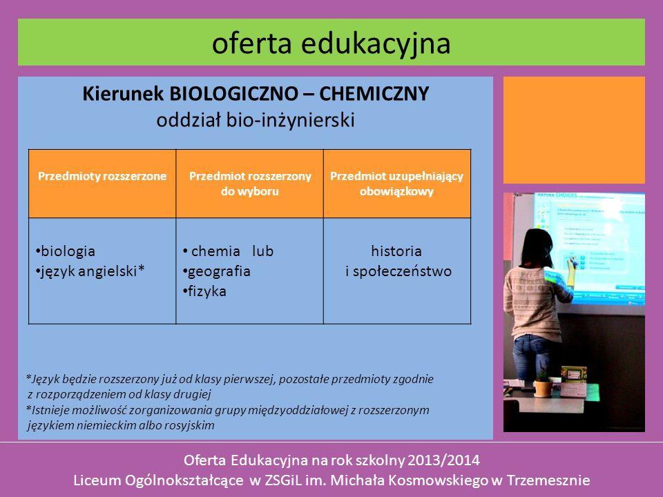 Kierunek BIOLOGICZNO – CHEMICZNY oddział bio-inżynierski *Język będzie rozszerzony już od klasy pierwszej, pozostałe przedmioty zgodnie z rozporządzen