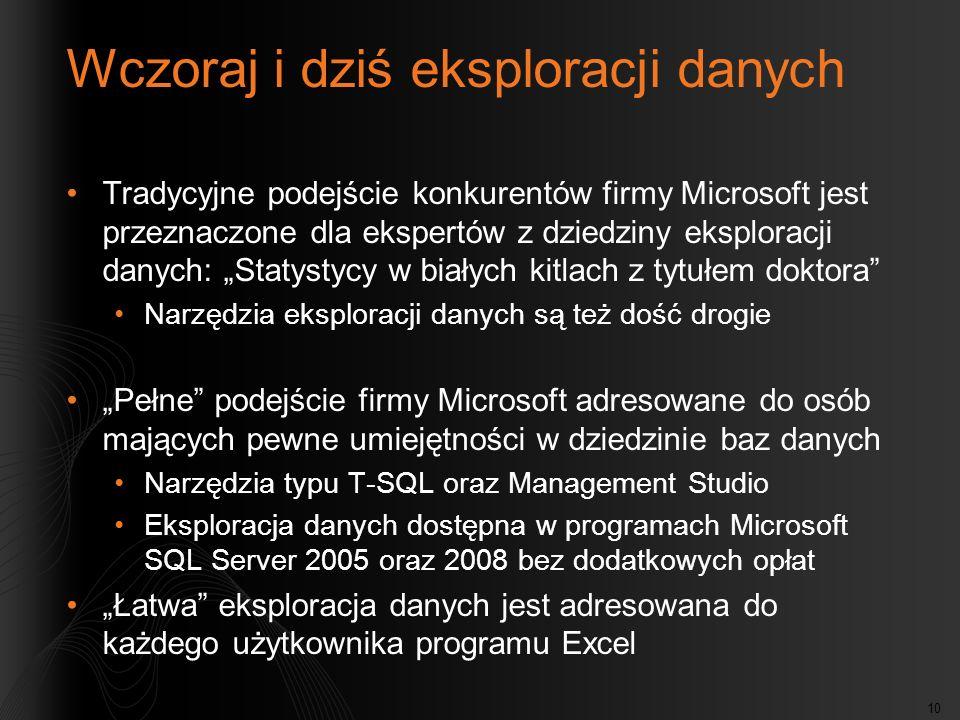 10 Wczoraj i dziś eksploracji danych Tradycyjne podejście konkurentów firmy Microsoft jest przeznaczone dla ekspertów z dziedziny eksploracji danych: