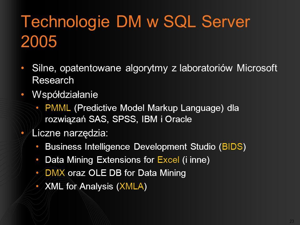 23 Technologie DM w SQL Server 2005 Silne, opatentowane algorytmy z laboratoriów Microsoft Research Współdziałanie PMML (Predictive Model Markup Langu