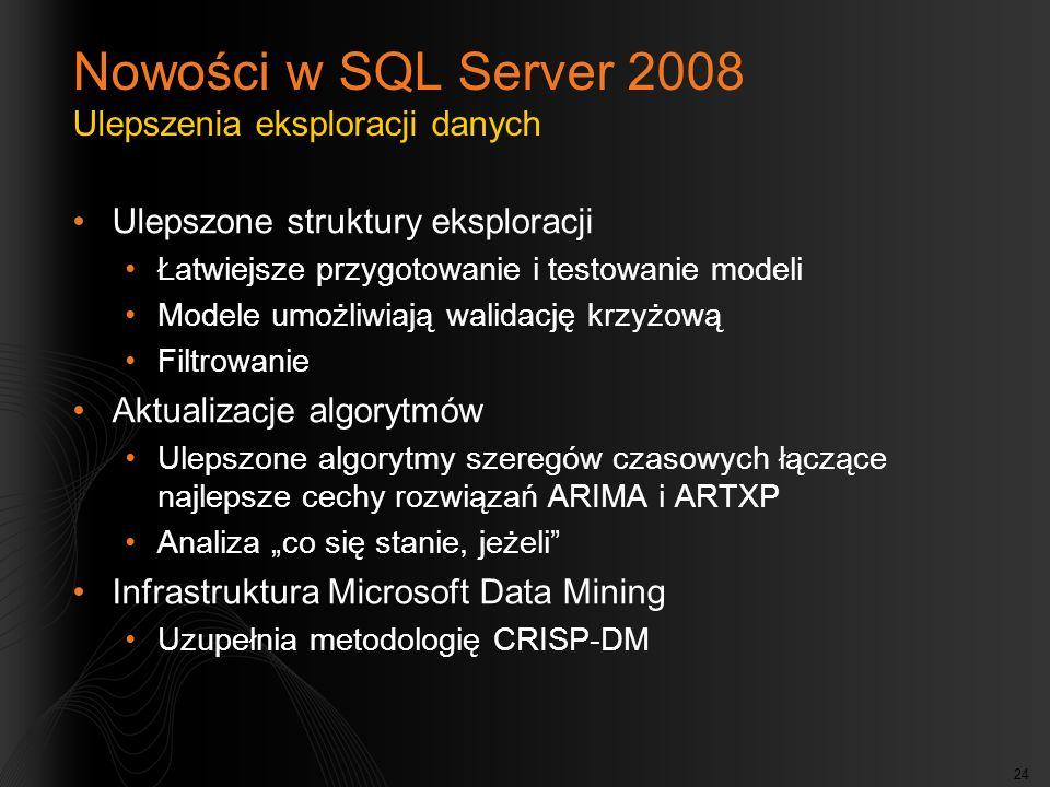 24 Nowości w SQL Server 2008 Ulepszenia eksploracji danych Ulepszone struktury eksploracji Łatwiejsze przygotowanie i testowanie modeli Modele umożliw