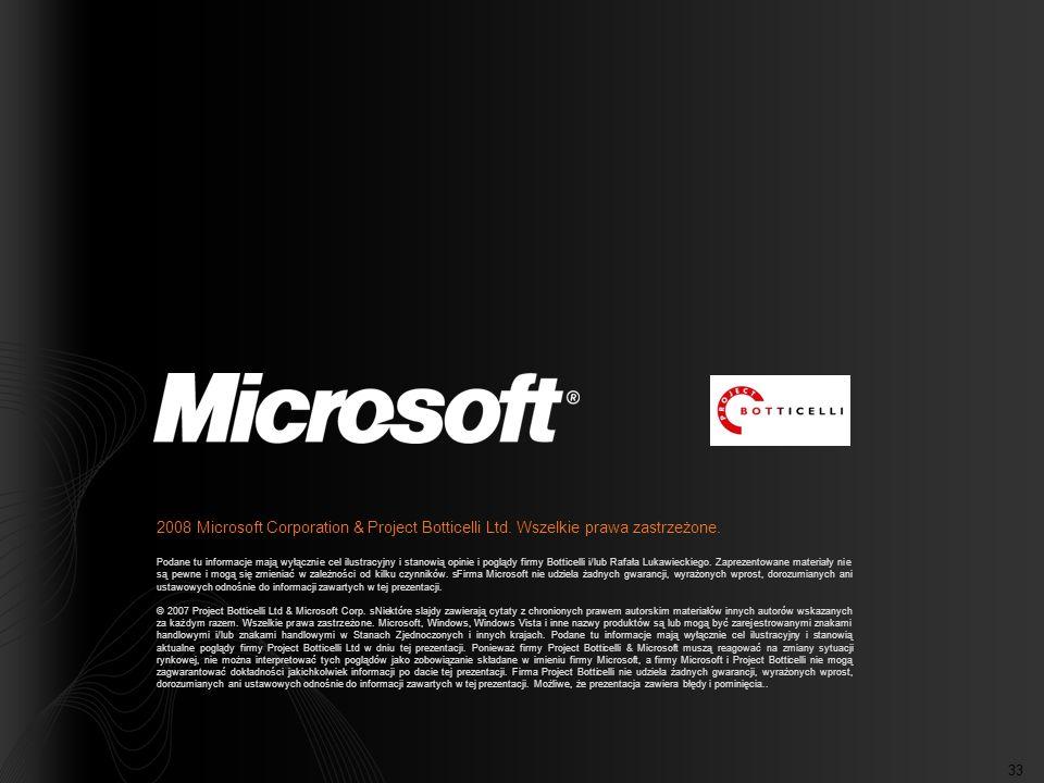 33 2008 Microsoft Corporation & Project Botticelli Ltd. Wszelkie prawa zastrzeżone. Podane tu informacje mają wyłącznie cel ilustracyjny i stanowią op