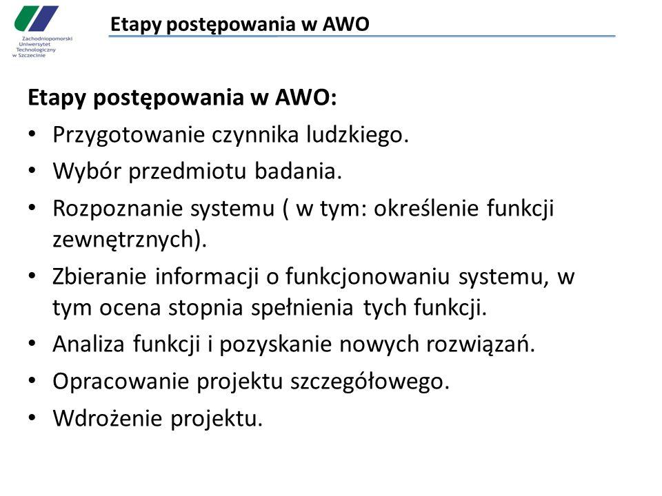 Etapy postępowania w AWO Etapy postępowania w AWO: Przygotowanie czynnika ludzkiego. Wybór przedmiotu badania. Rozpoznanie systemu ( w tym: określenie