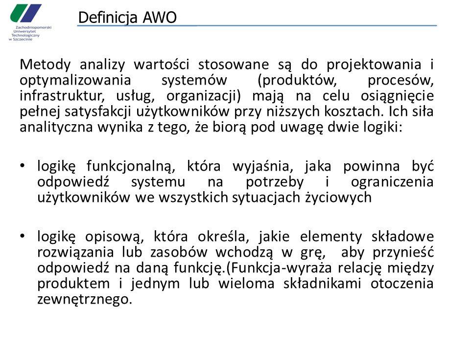 Definicja AWO Metody analizy wartości stosowane są do projektowania i optymalizowania systemów (produktów, procesów, infrastruktur, usług, organizacji
