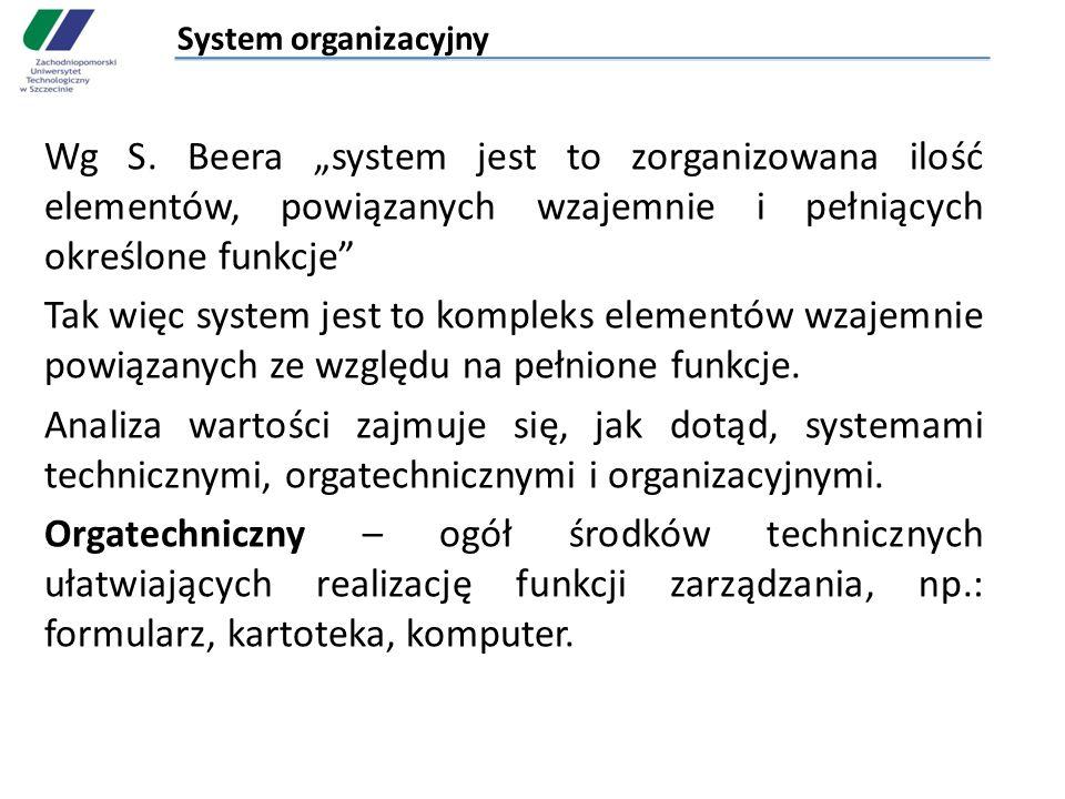 System organizacyjny Wg S. Beera system jest to zorganizowana ilość elementów, powiązanych wzajemnie i pełniących określone funkcje Tak więc system je