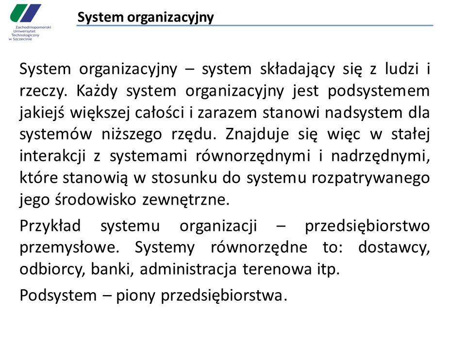 System organizacyjny System organizacyjny – system składający się z ludzi i rzeczy. Każdy system organizacyjny jest podsystemem jakiejś większej całoś