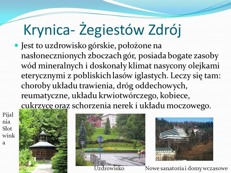 Krynica- Żegiestów Zdrój Jest to uzdrowisko górskie, położone na nasłonecznionych zboczach gór, posiada bogate zasoby wód mineralnych i doskonały klim