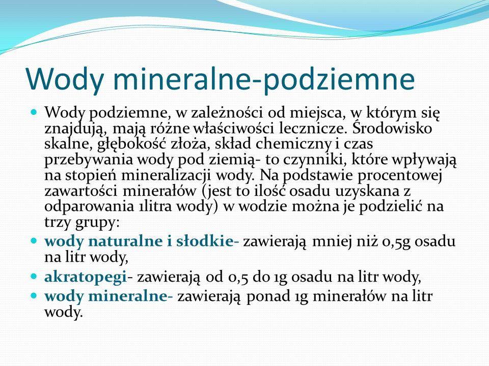Wody mineralne-podziemne Wody podziemne, w zależności od miejsca, w którym się znajdują, mają różne właściwości lecznicze. Środowisko skalne, głębokoś